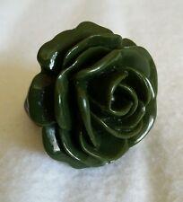 Green Resin Rose Floral Flower Statement Adjustable Ring Size Medium