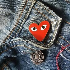 RED CDG COMME DES GARGONS LOGO BROOCH HEART PIN PLAY SUPREME ENAMEL BAPE PATCH