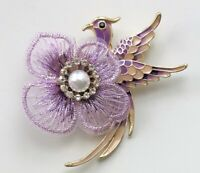 Unique vintage style Bird flower  Brooch Pin in enamel on gold tone metal