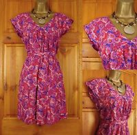 NEW CREW CLOTHING PINK RED PURPLE BLUE VINTAGE STYLE DITSY FLORAL SUMMER DRESS