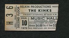 1972 The Kinks concert ticket stub Cincinnati OH Everybody's In Show Biz Lola