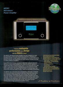 Super Rare Orig Factory McIntosh MC501 Mono Block Power Amp Dealer Sheet Page