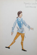 Theatre/opera male costume design vintage watercolor drawing signed