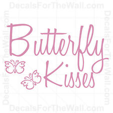 Butterfly Kisses Wall Decal Vinyl Lettering Art Sticker Quote Decor Saying K45