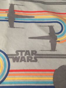 Star Wars Full Flat Bed Sheet 40th Anniversary Grays Rainbows X Wing  Pre Owned