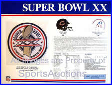 SUPER BOWL 20 Bears / Patriots 1986 Willabee Ward OFFICIAL SB XX NFL PATCH CARD