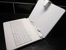 "White USB Keyboard PU Leather Case for 8"" Prestigio Multipad PMP5880D DUO Tablet"