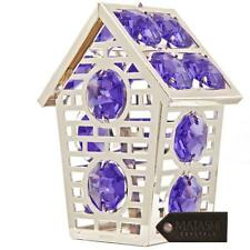 Silver Plated Lovely Bird House Ornament Made with Genuine Matashi Crystals