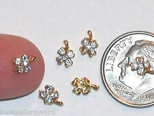 2pc Miniature tiny floating Flatback Crystal four leaf Clover findings 7x5mm NEW