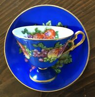 Lovely CASTLE Raised Tea Cup & Saucer Japan Royal Blue, Fruit & Rich Gold EUC