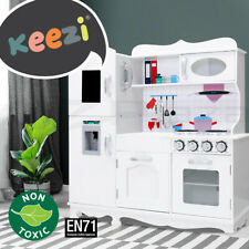 Keezi Kids Kitchen Set Pretend Play Wooden Boys Girls Toys Cooking Sets Kit