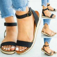 Women Platform Espadrilles Sandals Ladies Summer Ankle Strap Open Toe Shoes Size