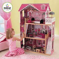 Amelia Dollhouse Toddler Child Kid Girl Toy Wood Furniture Fantasy Pink House.