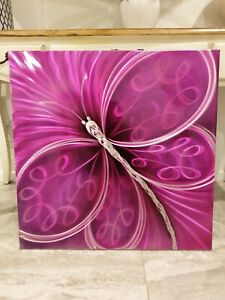 Gorgeous Metal Wall Art Pink Butterfly Home Decor NEW 74 x 74