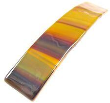 "Stained GLASS BARRETTE Clear Brown Auburn Umber Stripe 3.5/"" 90mm Hair Clip Slide"