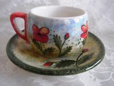 Tasse und Untertasse Handmalerei Mohnblumen Griechenland Porzellan Steingut