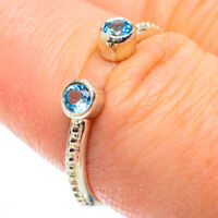 Blue Topaz 925 Sterling Silver Ring Size 8 Adjustable Ana Co Jewelry R52242F