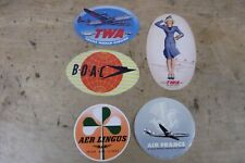 Group of 5 MINT, UNUSED Vintage Airline Luggage Stickers-Group C
