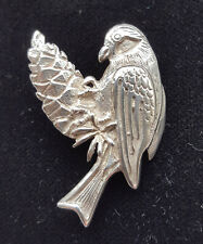 VINTAGE 925 SILVER BIRD BROOCH, BIRD EATING PINE CONE, BOXED, PERFECT CONDITION