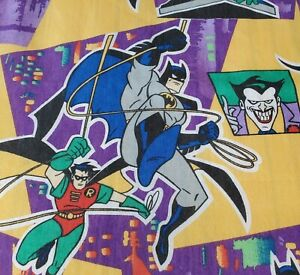 Vintage 90s Batman Robin Twin Flat Sheet Villains 1995 DC Comics Purple USA