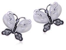 Silver Grey Opal S Rhines Butterfly Earrings BIG