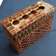 Curieuse Boîte 4 Trous Verre Recouverte Carrés Collés Fab Inde16x11 Cm - 502 Grs