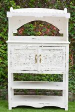 Carved Timber Shabby Chic Display Cabinet Book Case Storage Buffet & Hutch
