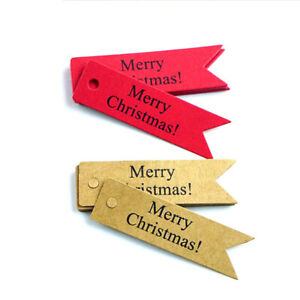 """Vintage Kraft Paper Gifts Wrap Decorative Label """" Merry Christmas """" Baking Tags"""