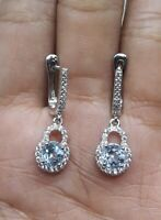 LUXURY NATURAL SKY TOPAZ WHITE CZ -STERLING 925 SILVER EARRING