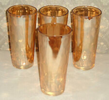 "Vintage 1950's Jeannette HEX OPTIC IRIDESCENT 16 Oz 6½"" Flat Tumblers Lot of 4"