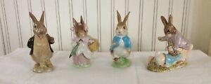Lot of 4 Beswick England Figurines Peter Rabbit Mr. Benjamin Bunny Mrs Rabbit
