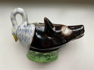 MMA Reproduction Staffordshire Pearlware Creamware Creamer Swan And Fox