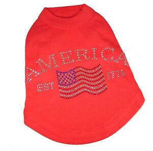 Red Dog Tank Shirt Top America Flag Tee T-Shirt Pet Shirt