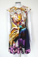 Mary Katrantzou Multi coloured print celebrity skater dress UK 8