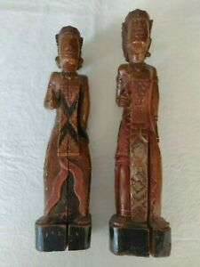 Set of two antique Indonesian wooden statues