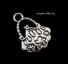 10 Antiqued Tibetan Silver 15mm Purse Handbag Flowers Bead Drop Charms