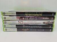 Lot of 5 Xbox 360 Games. Conan, Batman, Darksiders, Xblades, Ninety-Nine Nights.