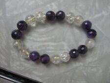 Amethyst gemstone stretch bracelet birthstone hippy rocks