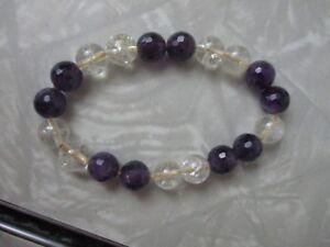 Amethyst gemstone stretch bracelet birthstone hippy rocks