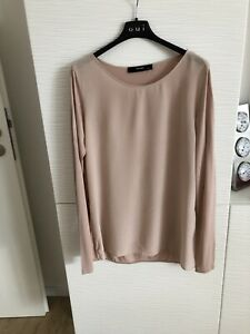 Hallhuber NeuW M 38 Shirt Bluse Seide Langarm Rosa Nude Basic