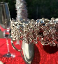 Exquisite Silver Plated Wine, Champagne Bucket With Elaborate Crystal Floral Rim