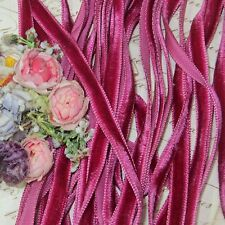 "1y 3/8"" CERISE PINK VELVET RIBBON ANTQ FRENCH DOLL TRIM  ROSETTE ROCOCO PANNE"