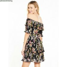 Bardot Style Floral Pleated Ruffle Dress By Very Size 10