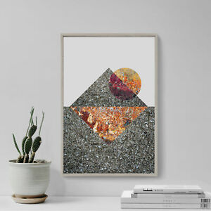 """Abstract Art Print """"PYRAMID"""" Glossy Photo Poster Gift Texture Egypt Planets"""