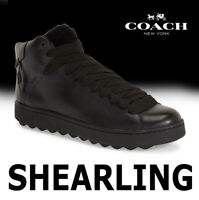 MEN'S COACH SHEARLING SNEAKER FUR (AUSTRALIA) LEATHER BLACK G1249 MSRP $295 10.5