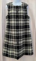 Pendleton 100% Wool Black and White Tartan Button Front Sheath Dress - Size 14