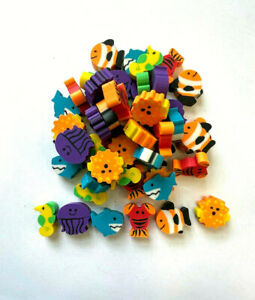 50 Mini Erasers Sea Life Summer Teacher Supply Sorting Math Counter Homeschool