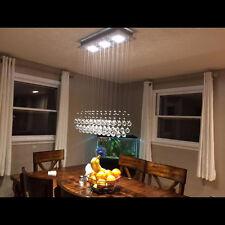 "H39"" x W25'' Modern Rain Drop Clear LED K9 Crystal Chandelier for Dining Room"