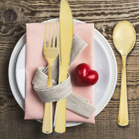 12pcs Wedding Flat Cutlery Kit Fork Disposable Party Plastic Tableware Plating