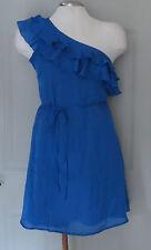 Jessica Simpson ~ Blue Ruffles Chiffon One Shoulder Cocktail Dress 2 NEW $98